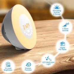 Wake-up Light LED Natürlich Aufwachen mit Licht Touch Wecker FM-Radio Neuheit