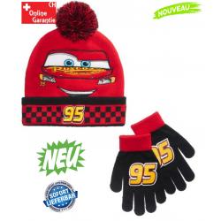 Disney Cars Lightning McQueen Winterset Kinder Junge Auto 95 Mütze Handschuhe Kindermütze Winter Wintermütze Set