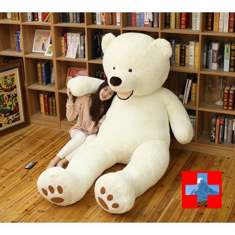 Riesen Mega XXL Plüschbär Plüschteddy Plüsch Bär Teddy Teddybär Weiss Eisbär Eis Weissbär Geschenk 260cm 2.6m Kind