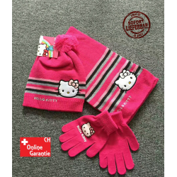 Hello Kitty Hellokitty HK Cap Mütze Beanie Handschuhe Handschuhen Schal Mädchen Girl Winter Set Fan Kleidung