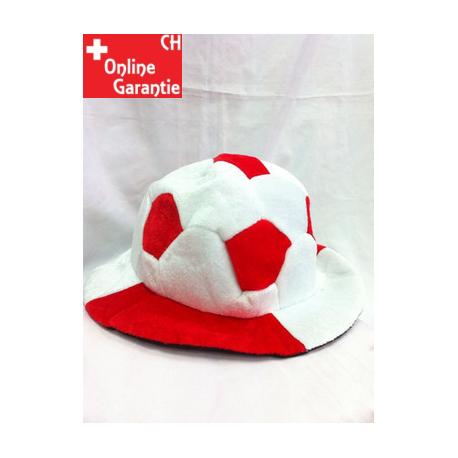 Schweiz Rot Weiss Fussball Fan Mütze Fussballkopf Hut mit Ball Fanartikel Hut Fanhut Fanmütze
