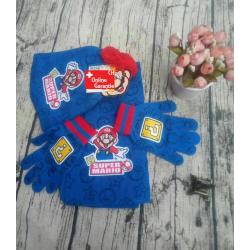 Nintendo Super Mario Bros. Mütze Beanie Cap Schal Handschuh Winter Set Kind Kinder Fanartikel