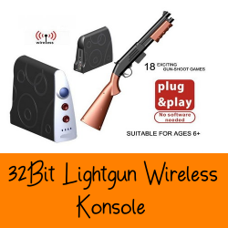 Familien Video Konsole Spielkonsole 32Bit Lightgun Wireless Light Gun Gewehr Flinte Spielspass Top Hunter TV