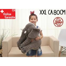 Elefant Elefanten Kissen Elefantenkissen Baby Kind XXL Plüschtier Geschenk 80cm