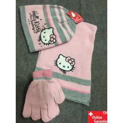 Hello Kitty Fan Mädchen Set 3tlg Mütze Kappe Schal handschuhe Hellokitty Accessoire