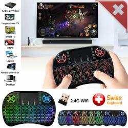 Mini Schweizer QWERTZ Tastatur Funktastatur Touchpad Funk Wireless 2.4 GHz TV Konsole