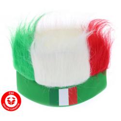 Italien Italy Italia Fan Stirnband Kappe Mütze Lustig Fun Strubbelhaar Fussball EM WM Party Italy Flagge