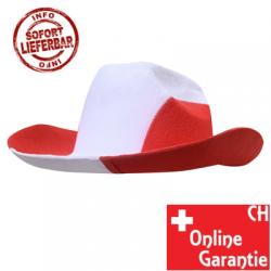 Cowboyhut Cowboy Hut Kappe Fan Schweiz Fanartikel Rot Weiss WM EM Swiss Switzerland