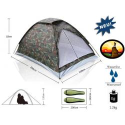 Militär Camouflage Camping Zelt für 2 Personen Outdoor Openair Camping Jäger Angler