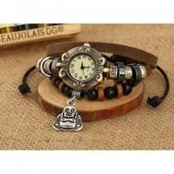 Buddha Uhr Leder Armbanduhr Hingucker Geschenk Armband Geschenk