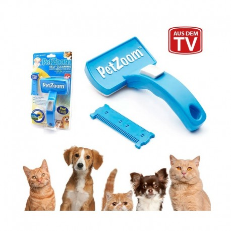 Selbstreinigende Haustier Bürste für Katzen Hunde PetZoom Tierpflegebürste Fellpflege