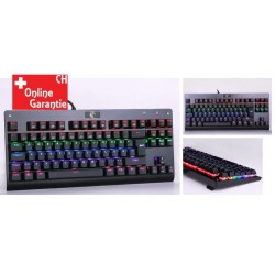 Mechanische QWERTZ Tastatur RGB LED Keyboard Gaming Büro Office 88 Tasten